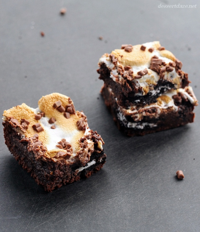 Oreo Filled Nutella S'more Brownies   I wanna eat some of that   Pint ...