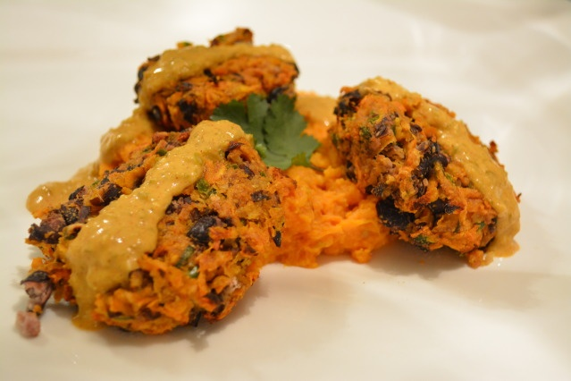 Black Bean Cakes with Spicy Sweet Potato Mash and Creamy Jalapeno ...