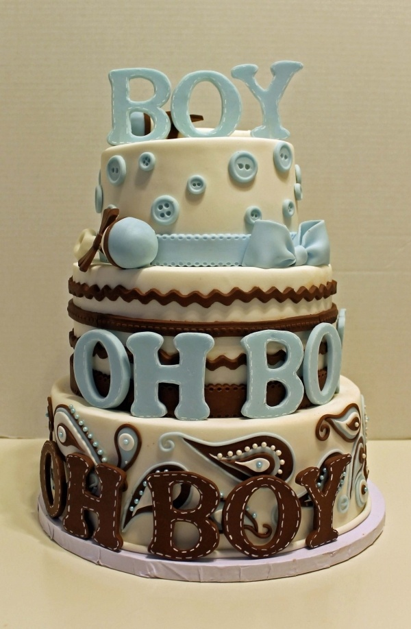 Boy Oh Boy #Baby Shower #Cake with buttons, funky lettering in brown ...