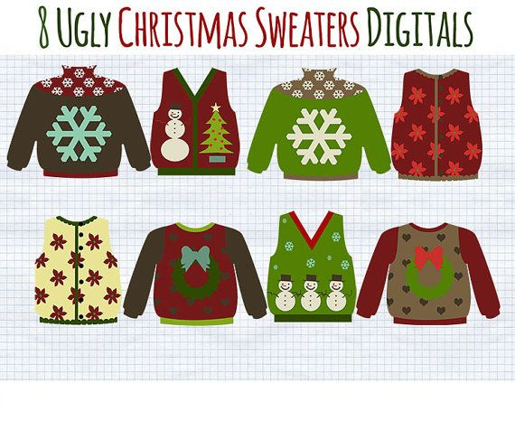Ugly Christmas Sweaters clip art  INSTANT DOWNLOAD for holiday xmas    Ugly Christmas Sweaters Clipart