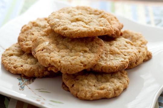 Salty-Sweet - Crisp Salted Oatmeal White Chocolate Cookies