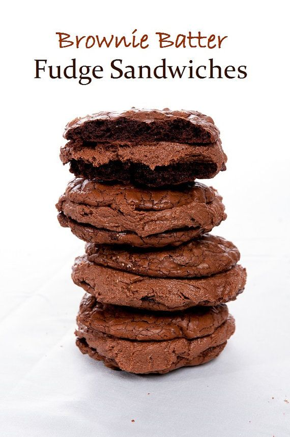 Brownie Batter Fudge Sandwiches! Chewy Fudge Brownie Cookies ...
