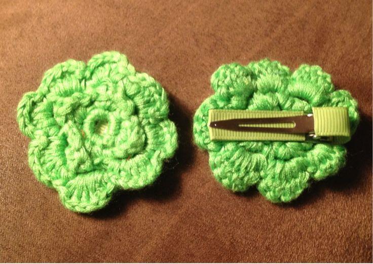 Crochet Green Hair : Green Crochet Flower Hair Clips Listia Pinterest