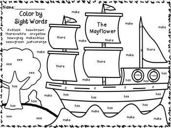 worksheet word sight thanksgiving  Words Sight