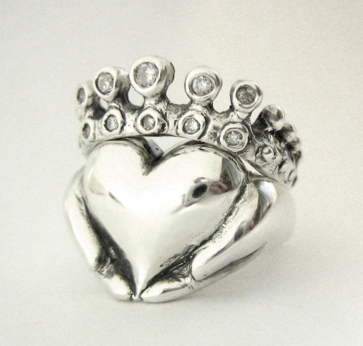Claddagh Wedding Set New White Gold Diamond Engagement Ring A