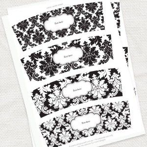 Damask votive candle wraps with editable font boxes--lots of FREE printables here