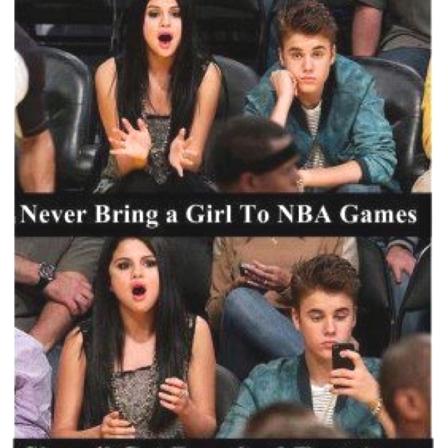 Never bring a girl to NBA games, she'll get bored and text away.