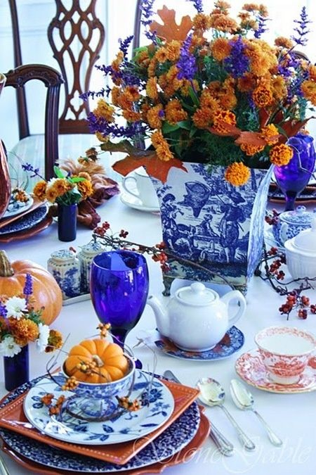 Love the combination of blue china with the fall colors. by georgette