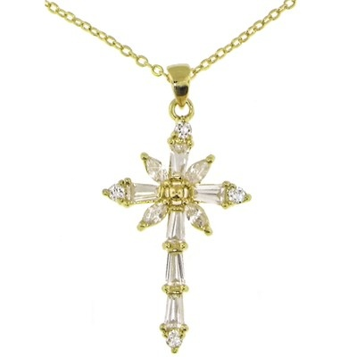 24k Gold Bonded 50 mils Cubic Zirconia Cross Pendant Necklace Gift Boxed $48.00