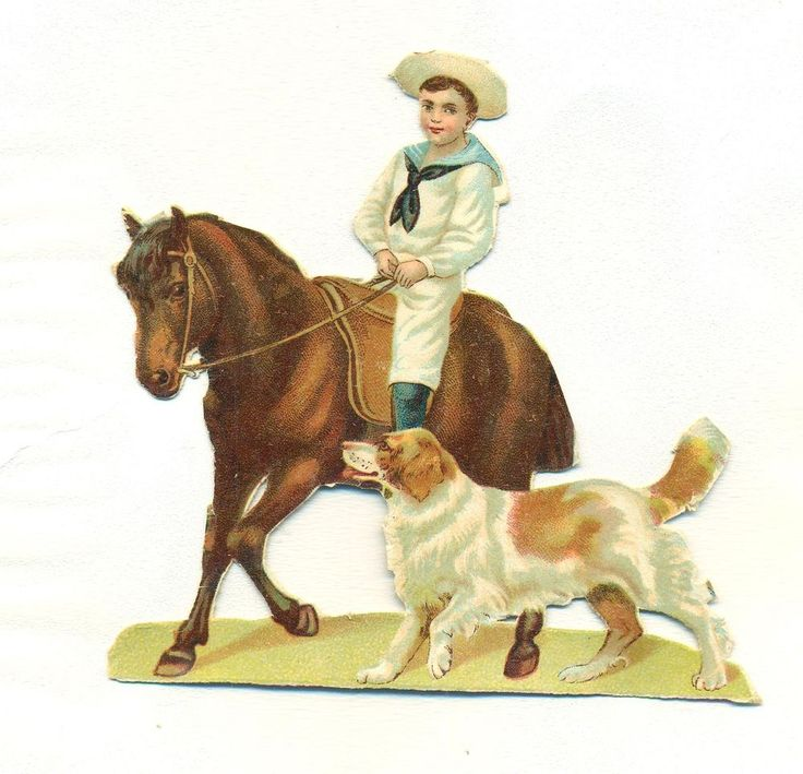 large  victorian scrap boy riding horse