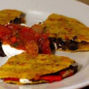 Black Bean, Roasted Red Pepper, and Goat Cheese Quesadillas, by ...