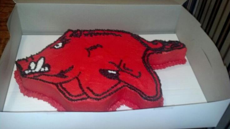 Arkansas Razorback Edible Cake Image