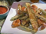 Fried eggplant, okra and shrimp with an oven-roasted tomato sauce. YES ...