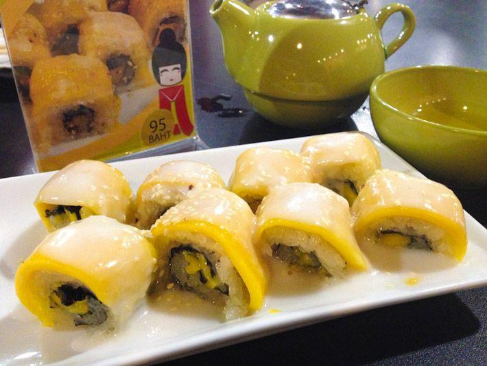Mango and Sticky Rice Sushi: the popular Thai desert of slices mangoes ...