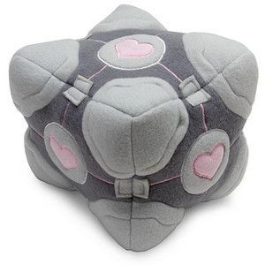 Weighted Plush Companion Cube from www.thinkgeek.com  OMG I WANT IT