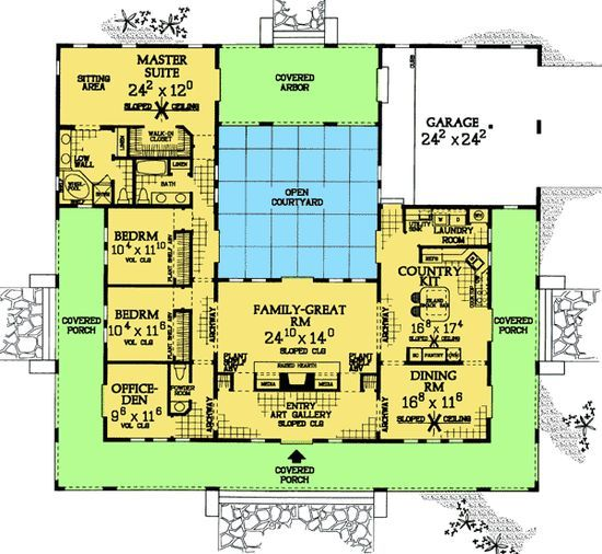 House Plans U Shaped With Courtyards Houses Pinterest