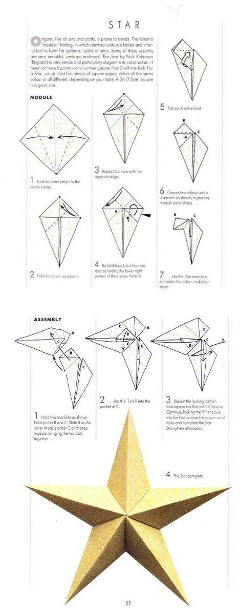 Origami five points modular star origami pinterest for How to make a big paper star