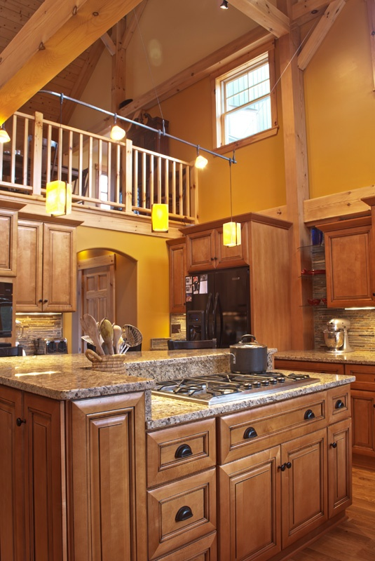Post and beam home kitchen kitchens pinterest for Post and beam kitchen ideas