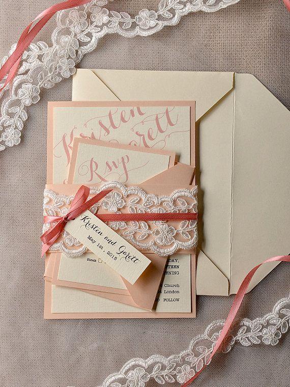 Coral and Peach Wedding Invitation, Veil Lace Wedding Invitations, Vi ...