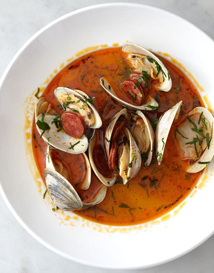 Steamed Littleneck Clams with Chorizo from Neptune Oyster in Boston ...