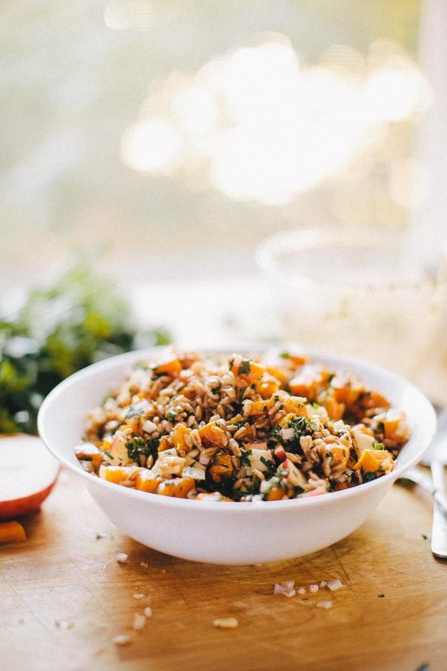 Sriracha and maple roasted butternut squash with farro salad with ...