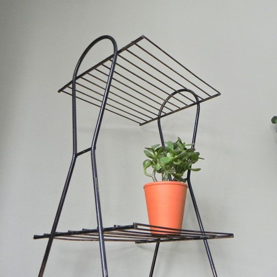 Vintage mid century modern black plant stand table metal two shelves ...