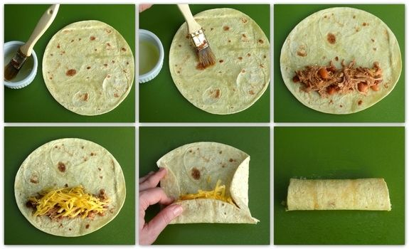 Oven Baked Pulled Pork Flautas wrapping instruction