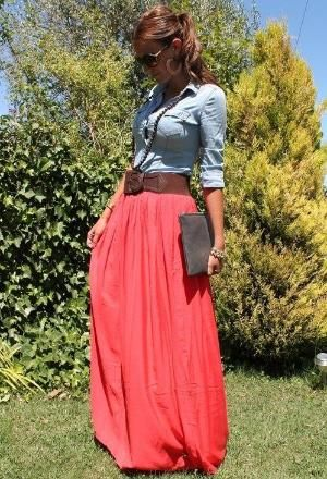 Coral and chambray. maxi skirt with chambray shirt...summer dress! by reva