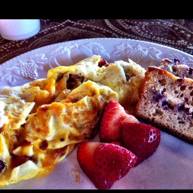 Bacon & cheddar omelette with strawberry & cream bread this Easter ...