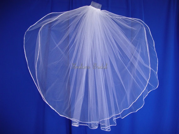 "Wedding veil two layer Waist length veil  soft rattail edging  top layer 31"" x 54"" (width)  second layer 33"" x 108"" (width)   finished on 3"" comb  available in white and ivory $55"