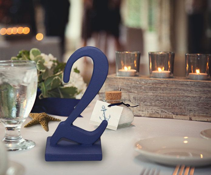 Nautical Wedding Table Numbers Navy Blue