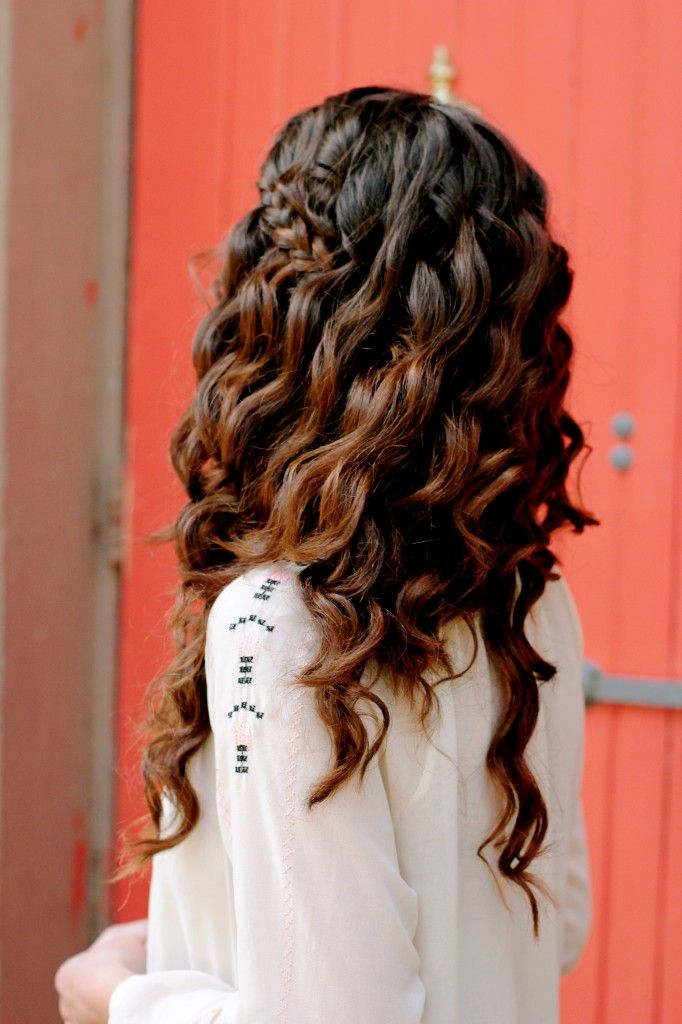 beautiful cool dark brown fading ombre style or lacing style into a rich, caramel brown. Also featuring a lovely side braid pinned at the parietal for a great spruce of sass into this casual style. #ombre #caramel highlights #spiralcurls #flatironwaves #braidedstyles #braids #longhair #brunette