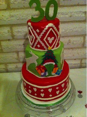 Grinch ugly christmas sweater inspired cake