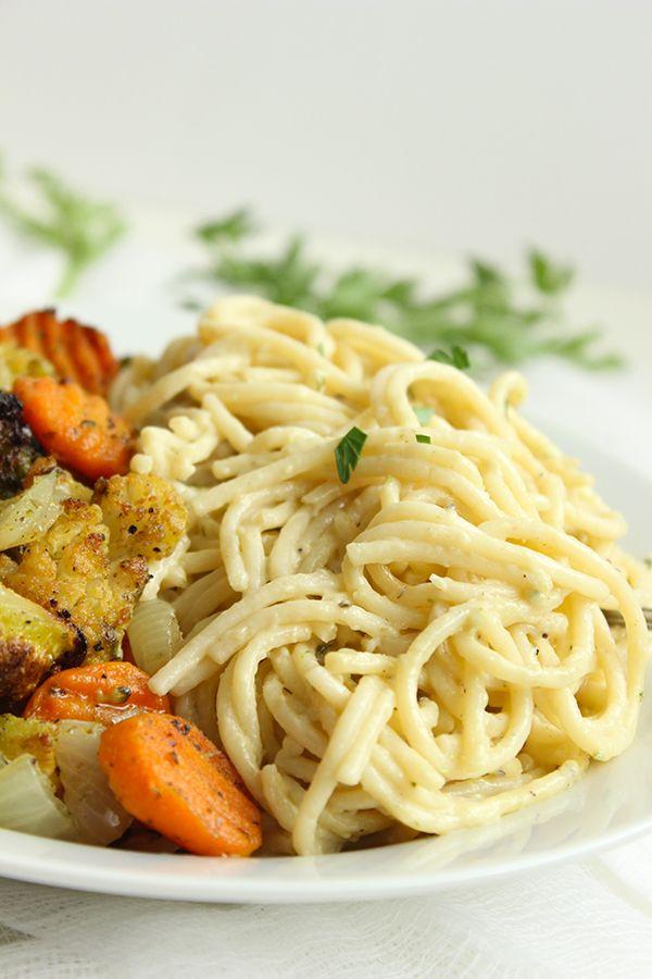 Simple Roasted Veggie Alfredo #lightenedup #vegetarian #skinny