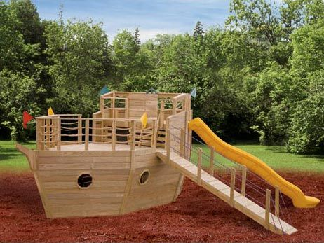 Playhouse swing set plans blueprint for a pirate ship - Pirate ship wooden playground ...