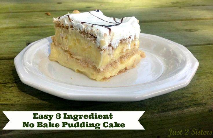 Easy 3 ingredient no bake pudding cake. #recipes #dessert #puddingcake #cake