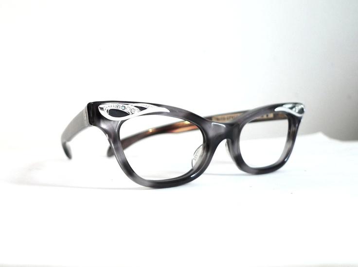 Cat Eye Rhinestone Eyeglass Frames : NOS Rhinestone Cat Eye Frames, USA Eyeglasses, Black Grey ...
