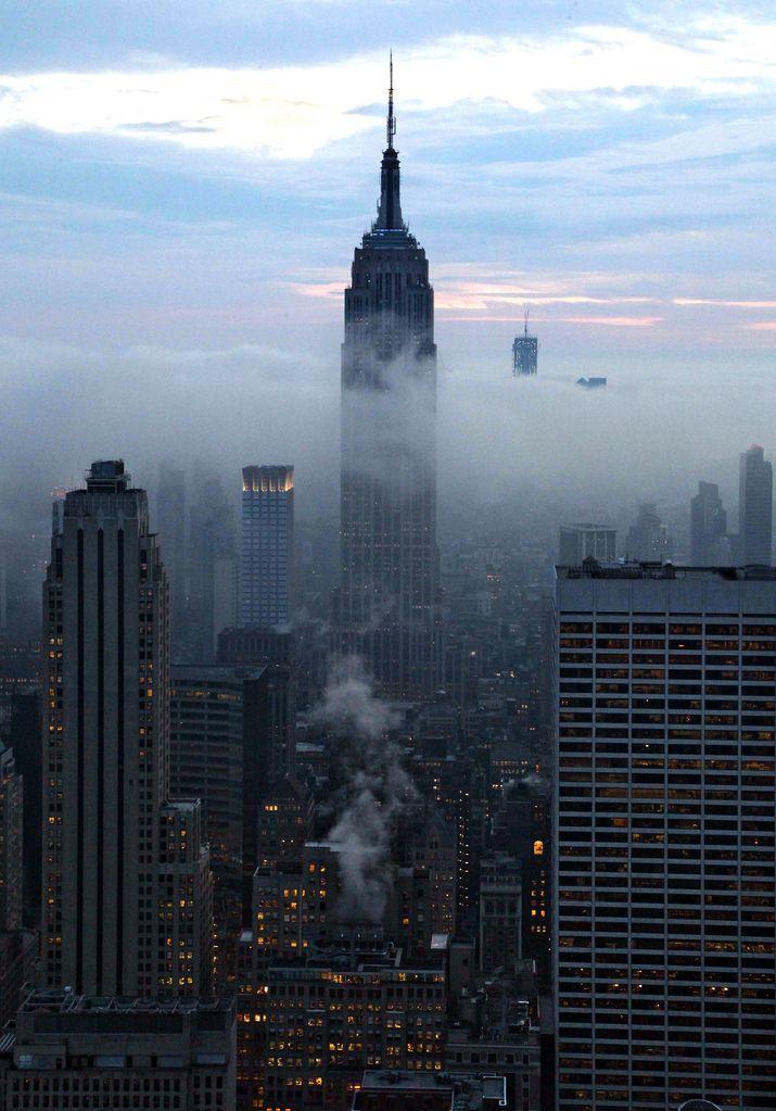 Foggy New York sky.