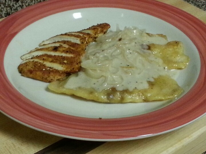 "---""Pierogi"",--- Brown Butter Sauce and Sweet and Spicy Chicken ..."