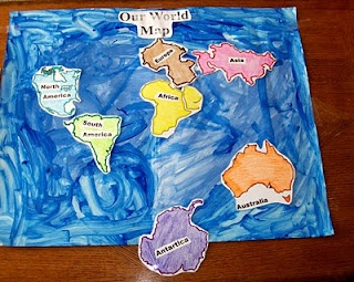 Interactive World Map to learn continents and their place-- need poster board and printables!