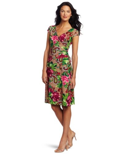Evan Picone Women's Printed Wrap Matte Jersey Dress