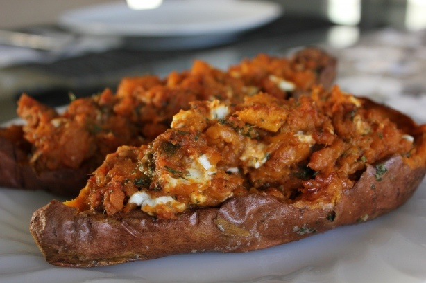 Twice Baked Sweet Potatoes with Roasted Red Pepper and Walnut Pesto ...