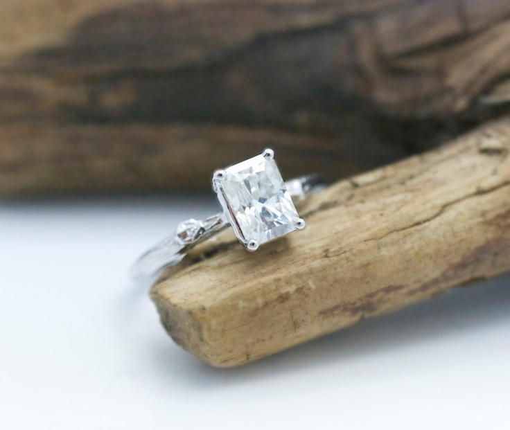 Emerald Cut Moissanite Twig Engagement Ring White Gold Unique Diamond Alt