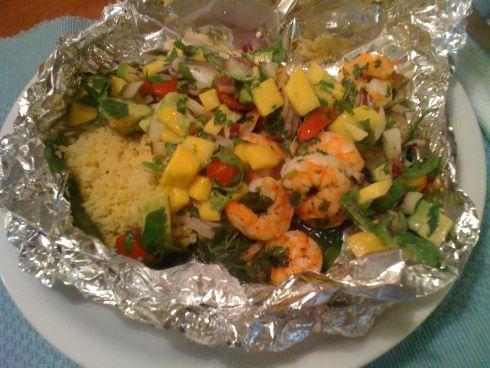 Shrimp with Avocado Mango Salsa - Foil Dinner