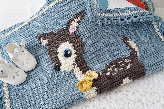 Crochet Baby Deer Pattern : Hello Deer Crochet Baby Blanket Woodland pattern by Little ...