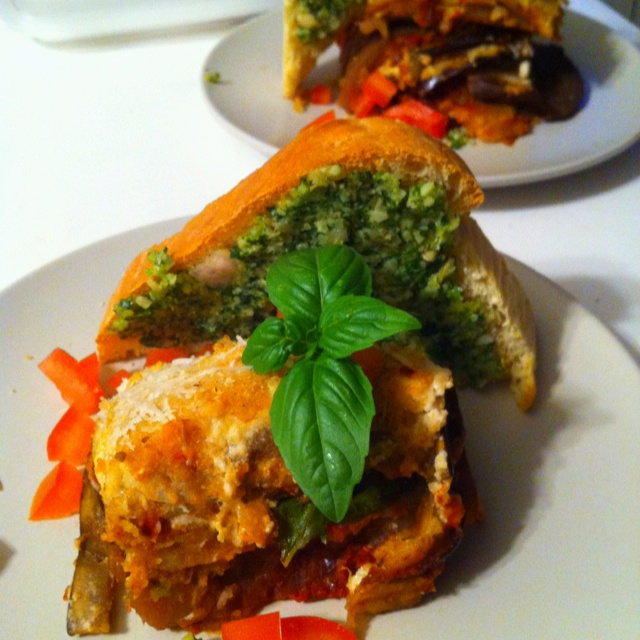 """Vegetable Moussaka with pesto toasts! 