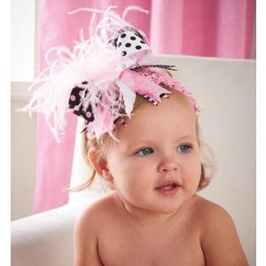 pink baby headband polka dot