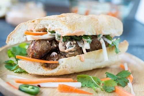 Pork Recipes : Pork Meatball Banh Mi | Pork Recipes | Pinterest