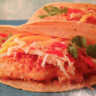 Crispy Chicken Tacos with Mango-Chipotle Slaw