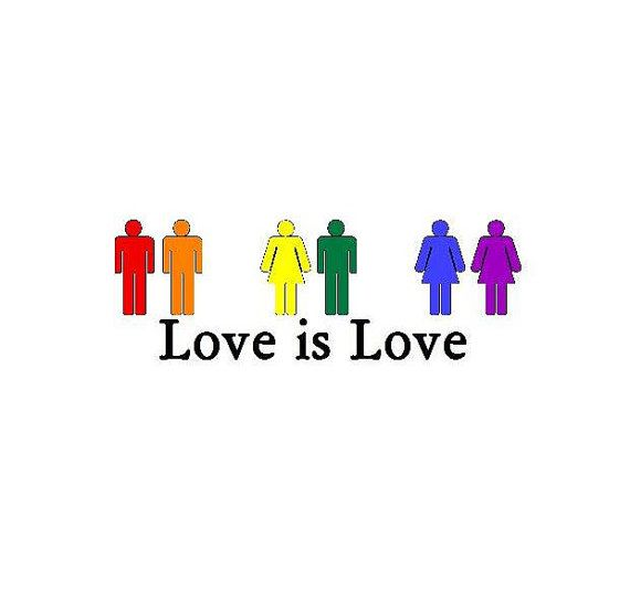 Love Is Love LGBT Gay Pride Rainbow Bumper by BumperStickerStore, $3.99